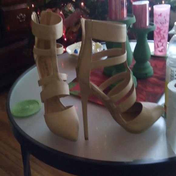 Beige strappy high heels Beige never worn strappy zipper up the back 6 inch heels Shoes Heels