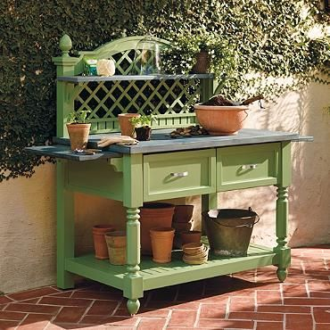 This potting bench combines elegant design with functionality to make gardening fun!