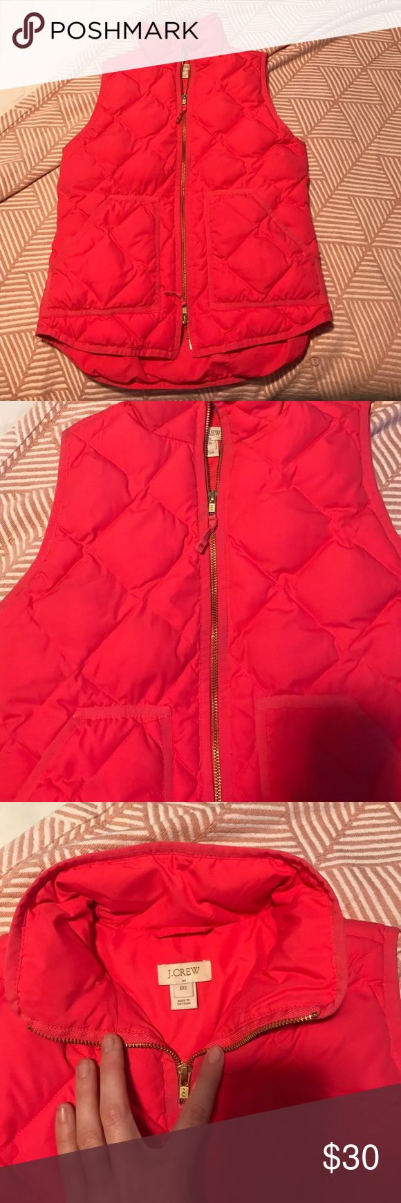J.Crew pink vest Good condition! Great hot pink color. Size xxs but fits like a small J. Crew Jackets & Coats Vests