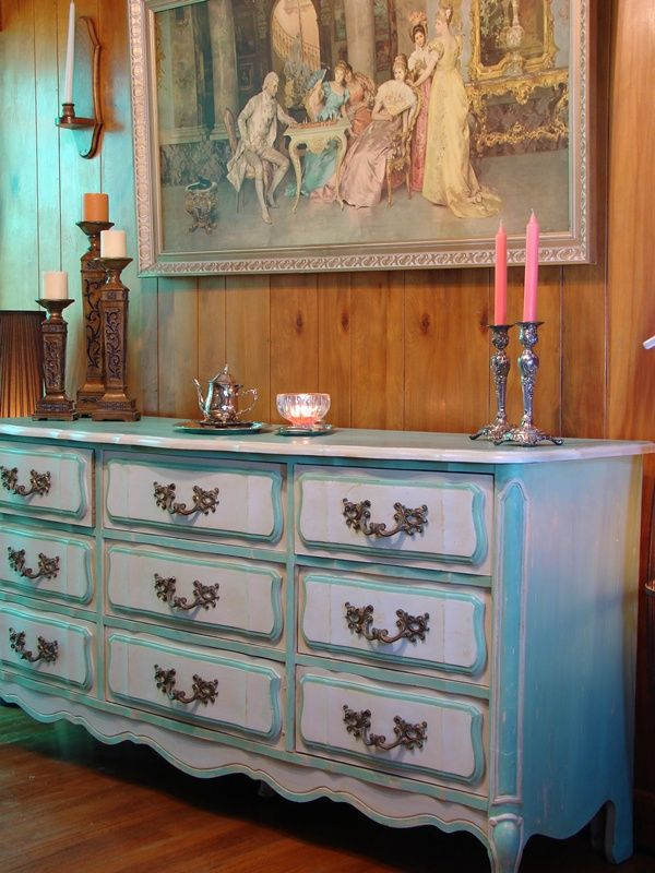 Blue Distressed Dresser - We recently finished this gorgeous blue distressed dresser for the cover of our book.