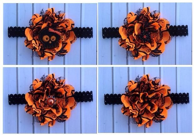 I have one Orange & Black Flower left in stock, below are some different options for the center of the flower.The very last one is just plain with no center. If you are interested please just let me know which option you would like $8.00 available at jLj Bowtique www.jljbowtique.com