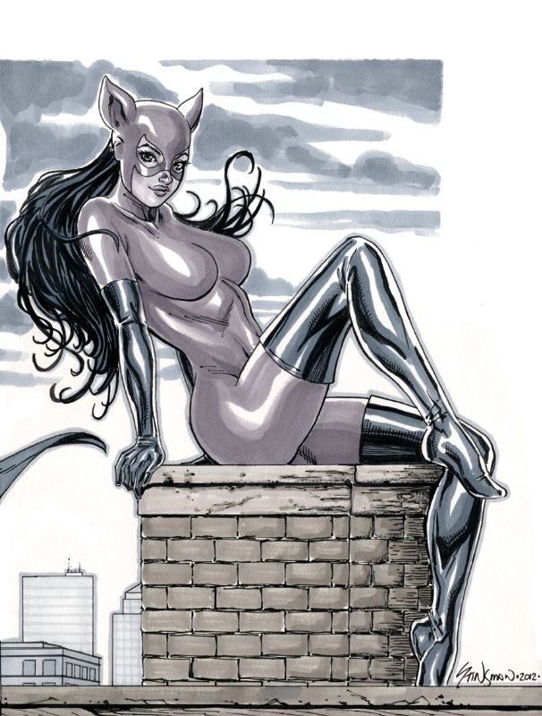 DC Comics 90s Catwoman (Purple Suit) II Comic Art