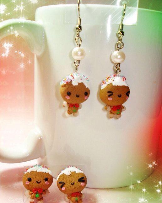 Gingerbread clay earrings