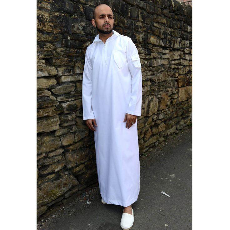 Urban Hooded Jubba Thobe White Casual Pinterest