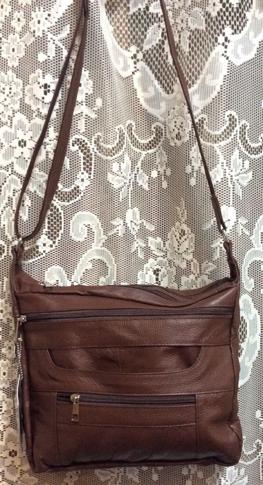 Leather Handbag Locking Conceal Carry CCW Holster Gun Purse R L Cross body BROWN #Roma #ShoulderBag