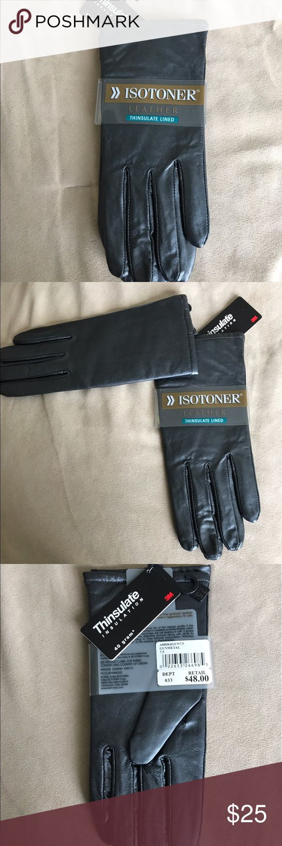 Womens leather gloves thinsulate lining - Isotoner Leather Thinsulate Lined Gloves Nwt