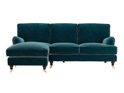 bluebell left-hand chaise in deep turquoise  pure cotton matt velvet - http://www.sofa.com/shop/sofas/corner-sofas/bluebell-chaise/customize/size/127/fabric/CMVTUR/