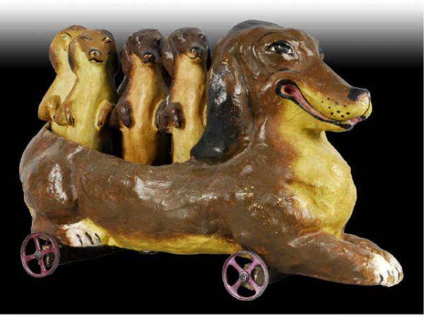 German Paper Mache Dog Antique Toy Skittles Set - Seven Papier Mache dog skittles.
