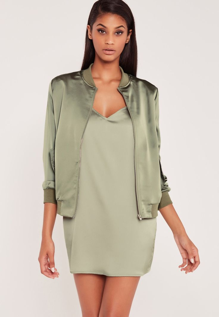 Missguided - Carli Bybel Satin Bomber Jacket Green