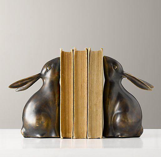 bronze bunny bookends