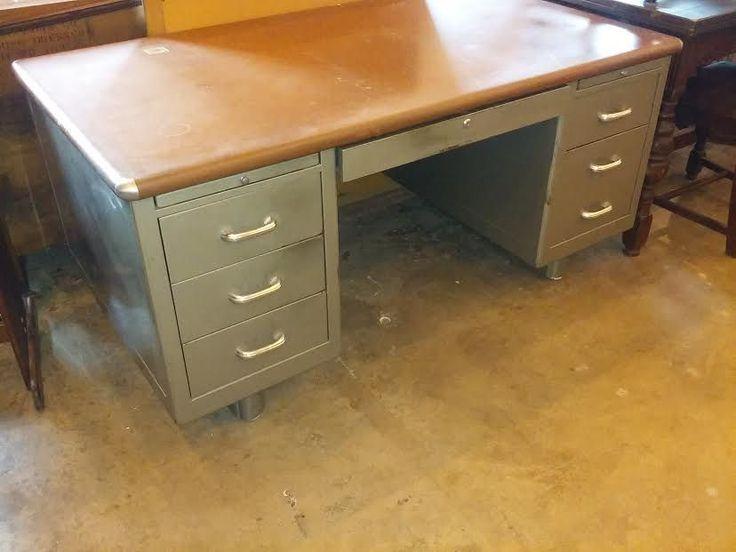 Shaw Walker Vintage Gray w/Leatherette and Nickel Corner Tanker Desk #MidCenturyModern #ShawWalker