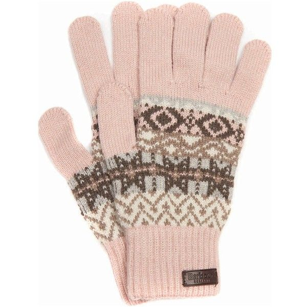 Women's Barbour Tarn Gloves - Pink ($40) ❤ liked on Polyvore featuring accessories, gloves, barbour, barbour gloves, fair isle gloves and pink gloves