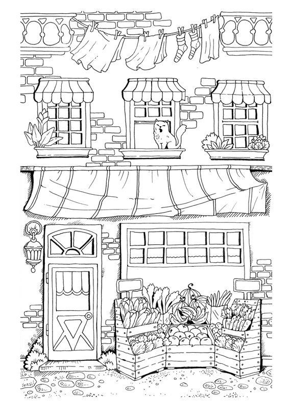 Nice Little Town Adult Coloring Book Pdf Digital Pages