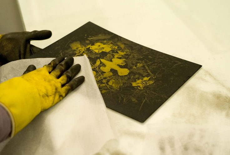 Polishing an Etching in Highland Print Studio in Inverness, Scotland