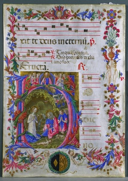 1471 Italian leaf from an antiphonary by Benvenuto di Giovanni (1436-1509/17) - ink, tempera, and gold on parchment (22 x 15 11/16 in.) - Cleveland Museum of Art  1952.282