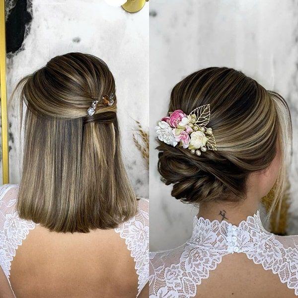 10 penteados de festa para cabelos curtos | Noiva de cabelo curto, Penteados  noiva cabelo curto, Penteados noiva cabelo médio