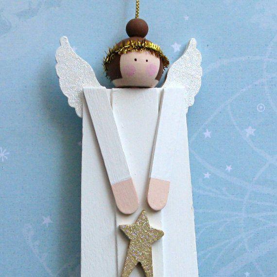 Angel Wood Christmas Ornaments Set of 3 by BarkingDogDesigns