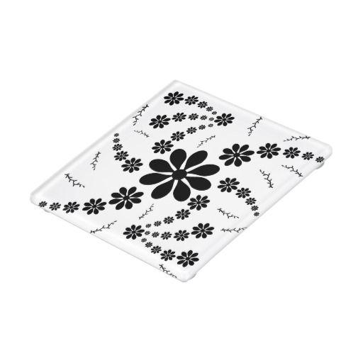 #Coaster Black Flowers Glass Coaster
