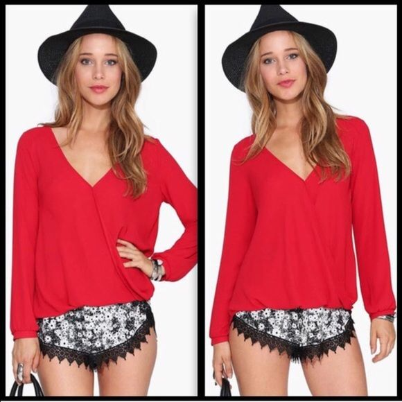 V neck Red Long Sleeve Top Too big for me. See last photo for description. I only have the Large size. Tops Blouses