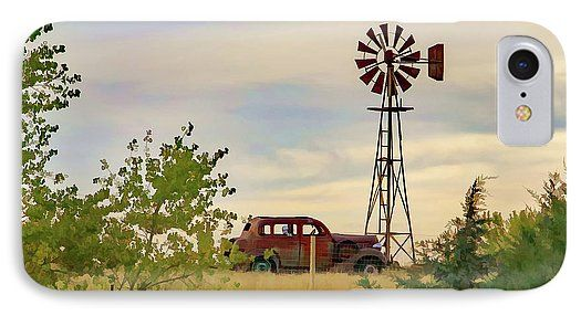 Rural Phone Cases featuring the photograph Rust In Peace Da by Kevin Anderson  A digital photopainting of a peaceful rural scene with a rusty antique car with a skeleton in the back by a rusty windmill behind a fence framed by bushes, cedars and grass.     Please note: The FAA watermark will not appear on prints or products