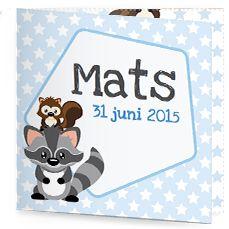 Bekijk de leukste kaartjes op onze site | http://www.kissgeboortekaartjes.nl | #baby #geboortekaartje  #kissgeboortekaartjes #wasbeer #jongen #blauw #schattig