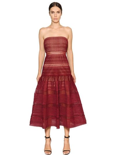 SELF-PORTRAIT - SCULPTURED DOUBLE CREPE BANDEAU DRESS - LUISAVIAROMA - LUXURY SHOPPING WORLDWIDE SHIPPING - FLORENCE