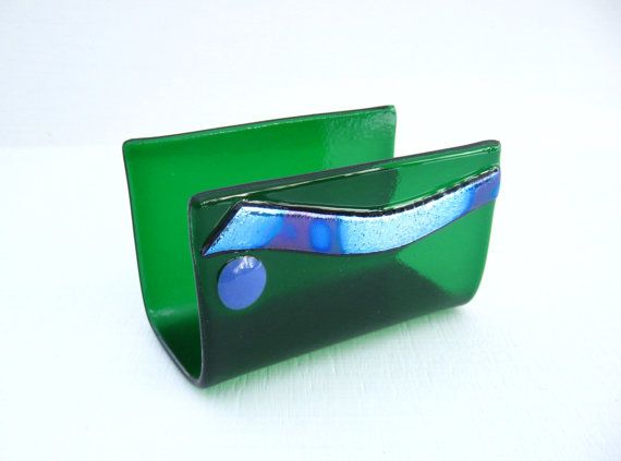 47 best fused glass business card holder images on pinterest business card holder desk fused glass green blue wave dichroic artistic executive business corporate coworker gift for guy dawnofcreation colourmoves
