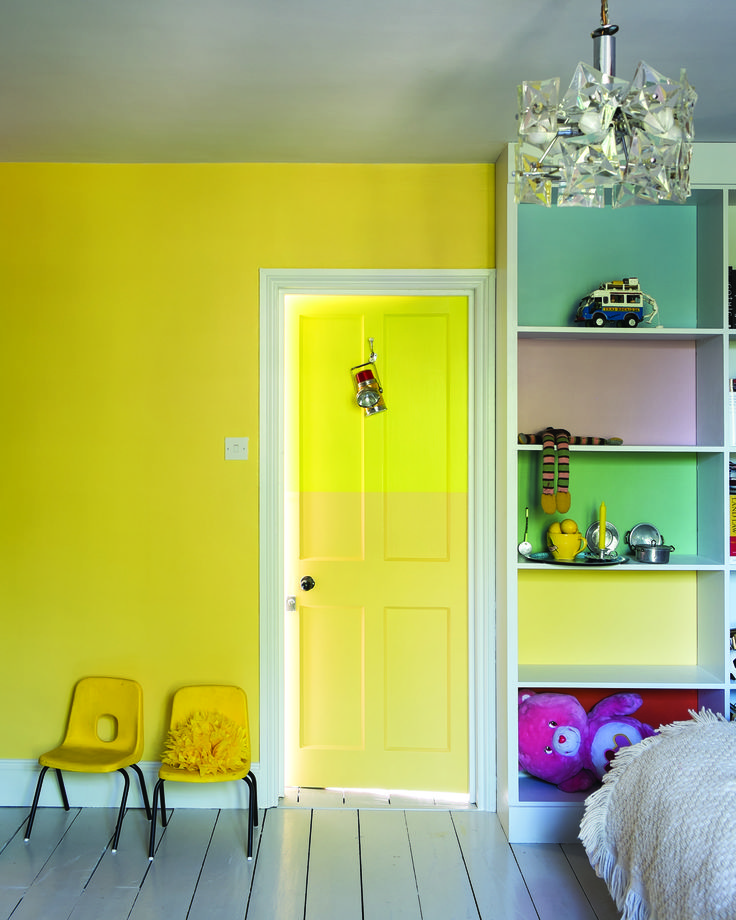 Bright and colourful children's bedroom in Farrow & Ball colours: Wall: Dayroom Yellow Cupboard backs: Lulworth Blue, Cinder Rose, Breakfast Room Green & Blazer Modern Emulsion, Door: Yellowcake & Dayroom Yellow Estate Eggshell.
