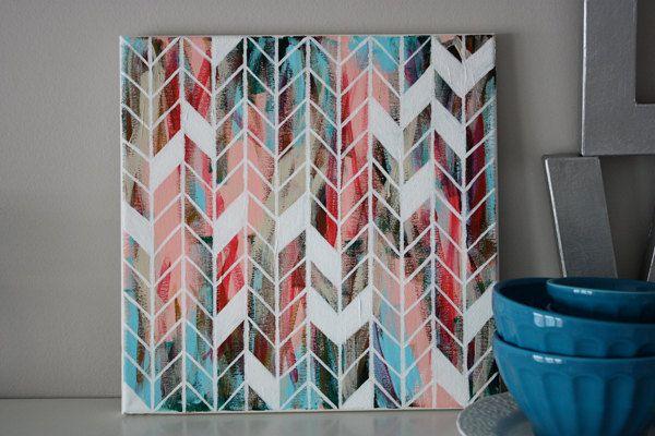 12x12 Canvas Herringbone Painting. $55.00, via Etsy.