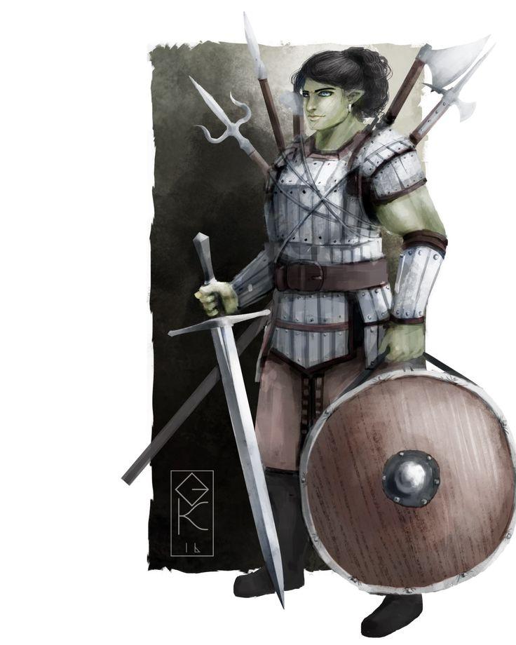 Name: Valentina Bemarru Artist: Gauntes;  Tags: Half-orc; Half-Human; Female; Warrior; Fighter;