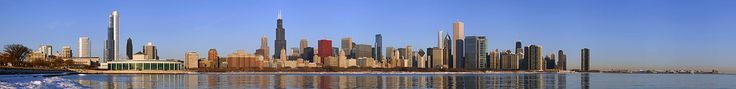 The 2010 Chicago skyline as seen from the Adler Planetarium (Use cursor to identify buildings)