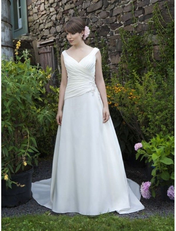 Chiffon and Satin V-Neckline A-Line Wedding Dress with Applique Detail Lace up Bodice - Bridal Gowns - RainingBlossoms