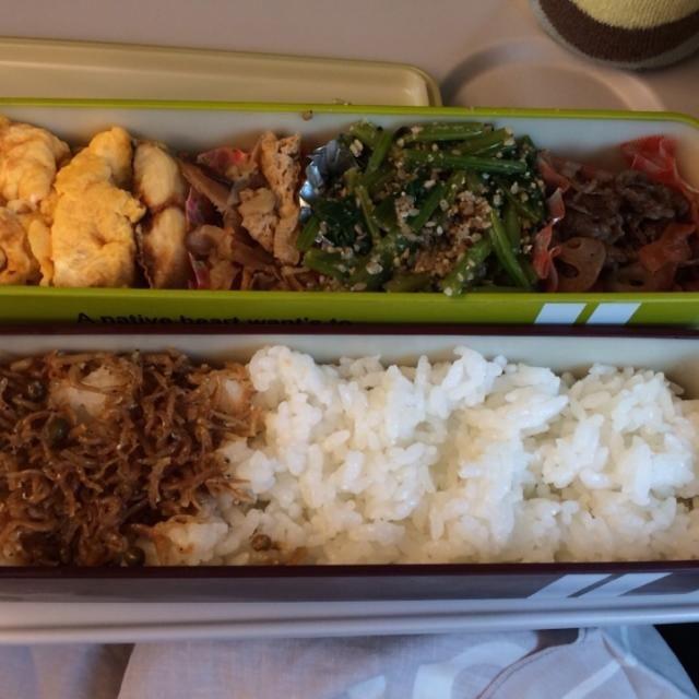 新幹線車内で食しました。 - 10件のもぐもぐ - 弁当(牛肉蓮根きんぴら、ほうれん草胡麻和え、切干し大根、サバ塩焼き、玉子焼き、ちりめん山椒) by SasaMasa213