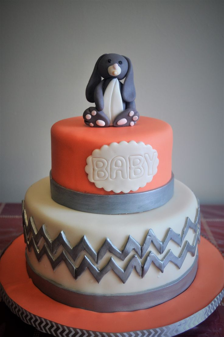 Bunny themed grey ivory and peach baby shower cake