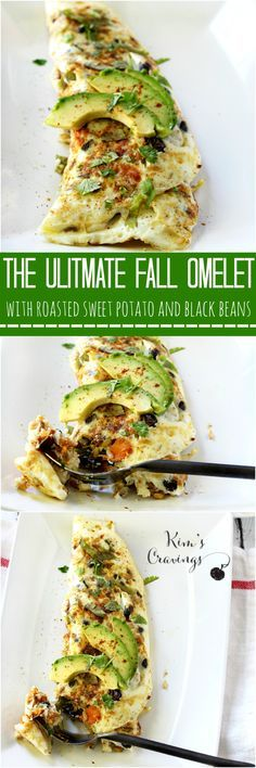 This Sweet Potato Black Bean Egg White Omelet is the ultimate clean-eating Fall breakfast meal!