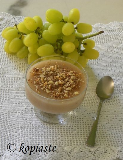 "Palouzes or moustalevria: An amazing Greek pudding made with ""must"" (fresh grape juice), scented with fragrant geraniums and served with roasted almonds and cinnamon. In Greek: http://www.kopiaste.info/?p=1867"