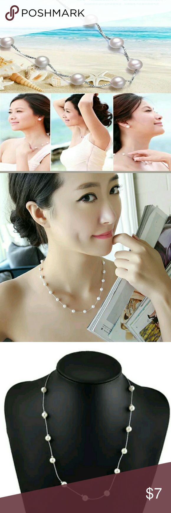 Elegent pearl Stranded choker necklace Condition: 100% Brand New and High Quality ! Material: Alloy + Pearl  Pearl Diam : 8mm   Color:Silver  Package Included: 1 x  Women Pearl Necklace Pendant    High quality in EU and US quality standard converse : 1 inch = 2.54cm or 1cm = 0.393 inch Jewelry Necklaces