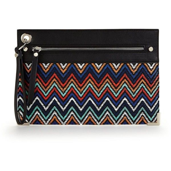 V By Very Aztec Pattern Wristlet Clutch (19 AUD) ❤ liked on Polyvore featuring bags, handbags, clutches, zip wristlet, aztec print handbags, aztec purse, aztec handbag and zipper purse