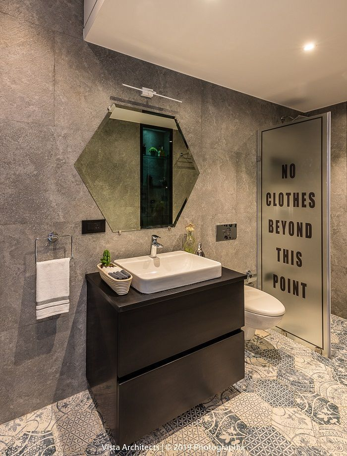 See Inside This Pattern Texture Saturated Apartment Dress Your Home Best Interior Design Blo Washroom Design Master Bathroom Design Bathroom Design Small