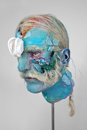 "David Altmejd, ""Untitled"", 2011, epoxy clay, plaster, glass eyes, synthetic hair, acrylic paint, minerals, quartz, malachite and assorted minerals, fabric, stainless steel"