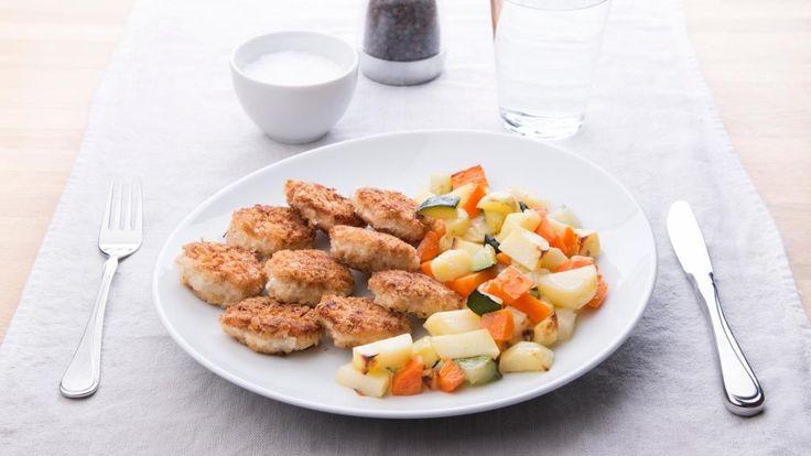 Oppskrift på kyllingnuggets med rotgrønnsaker