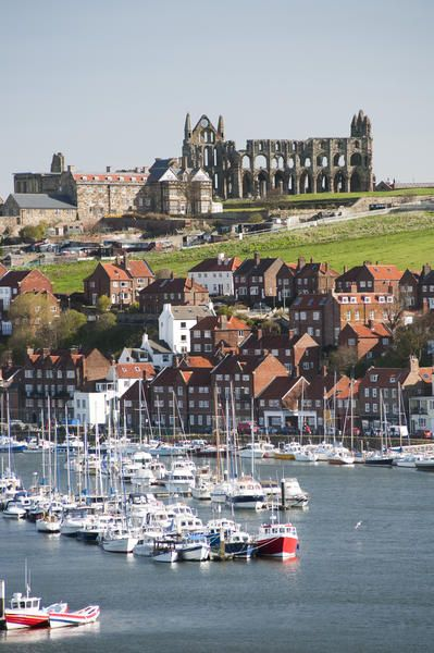 Whitby Upper Harbour and Abbey ruins, England