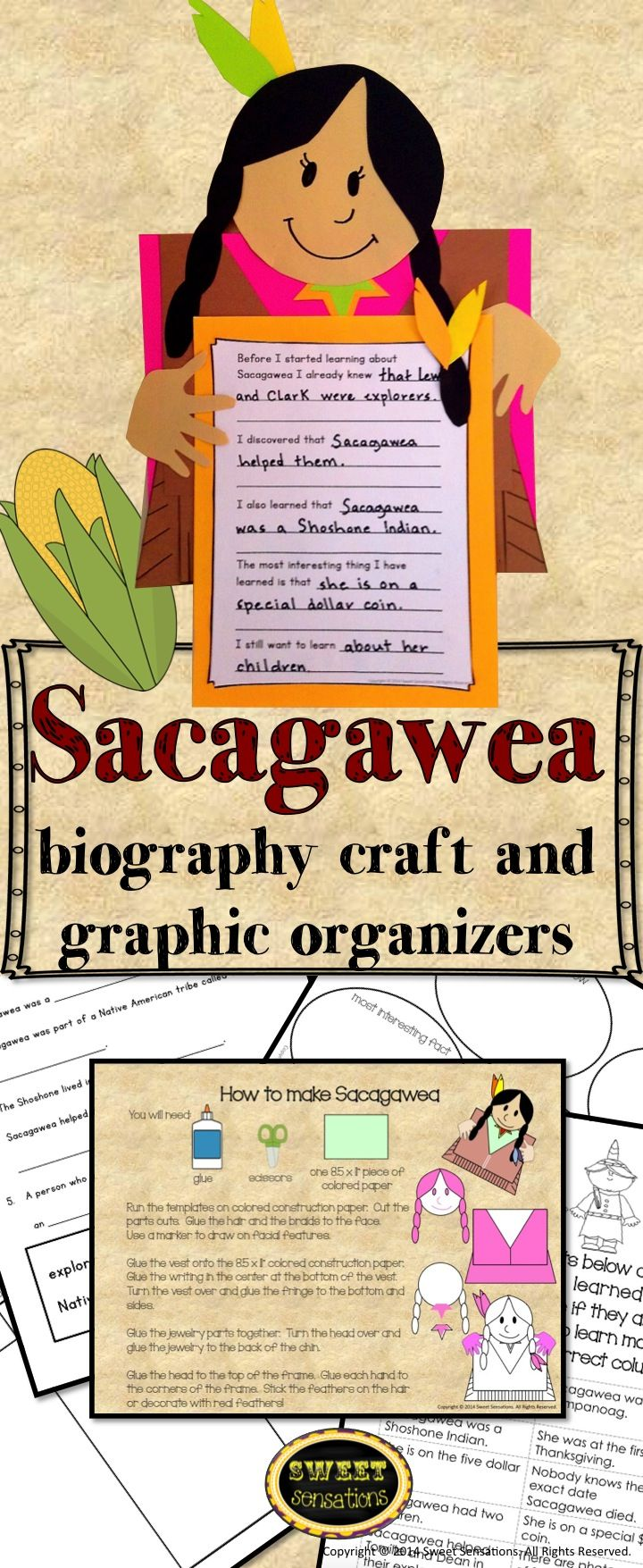 Are your first and second graders studying different text types? This graphic organizer pack is designed to enhance a unit on biographies. Focusing on Sacagawea, it invites students to learn more about her and share their knowledge in a fun craft activity. Along the way they will sharpen their understanding of biographies and how they differ from other text types.