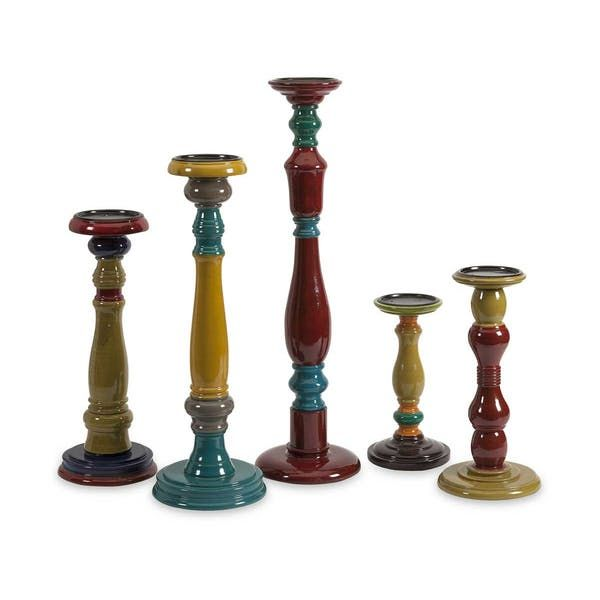 IMAX Jasper Wood Candleholders. With varying shapes and turned wood styles, this bold, eclectic collection of five candleholders each has a unique colorful finish in globally inspire jewel tones.