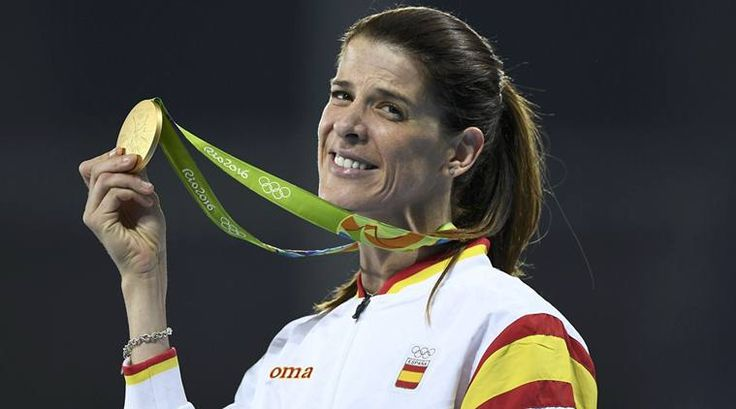 Spain's Ruth Beitia with her high jump gold at the 2016 Rio Olympics.