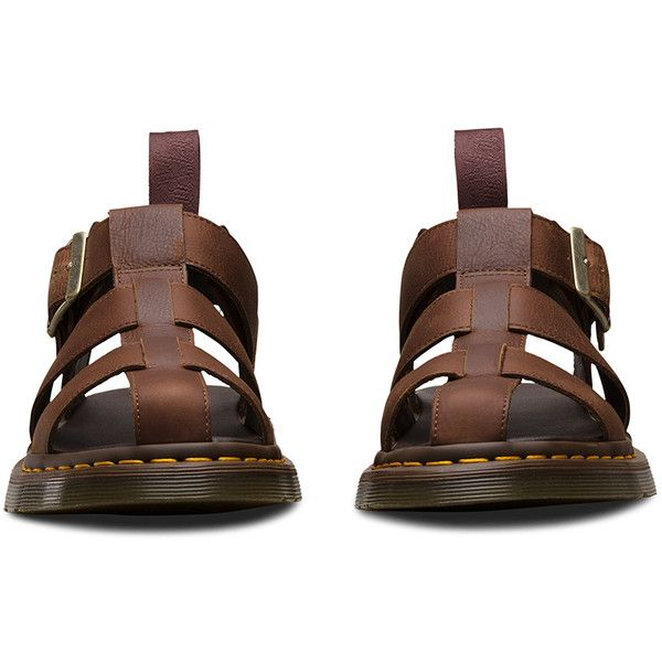 Dr. Martens Leather Galia Sandal Footwear (€91) ❤ liked on Polyvore featuring shoes, sandals, tan, tan leather shoes, genuine leather shoes, summer shoes, leather sandals and tan sandals