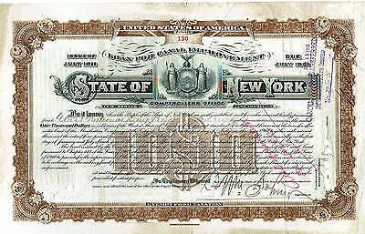 scripophilia scripophily - State of New York loan for highway $1000 issue 1911