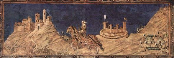 Сиена. палаццо пубблико. Мартини, Симоне Победоносный полководец Гвидо Риччо да Фольяно. Фреска из Палаццо Пубблико в Сиене, 1328, 340 x 968 см, Фреска