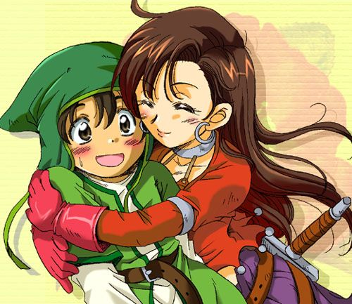Dragon Quest VII characters; Aira embraces the Hero - X C