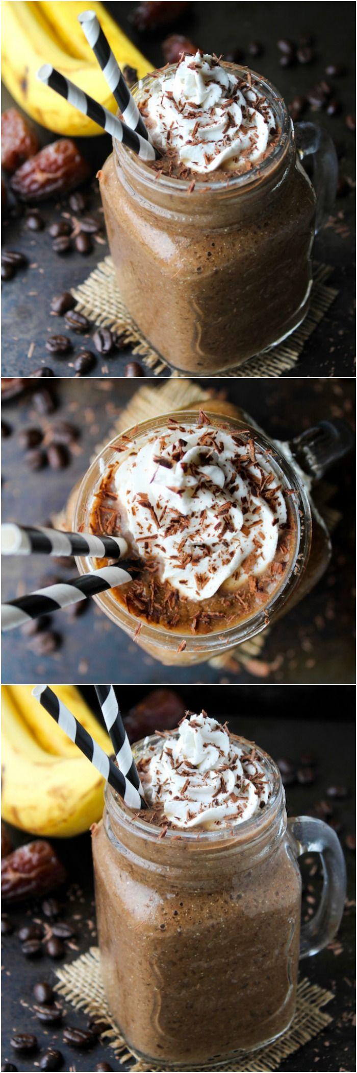 Chocolate and Coffee Smoothie |Naturally sweetened & dairy free – thick, creamy, chocolatey indulgence! Paleo & Vegan